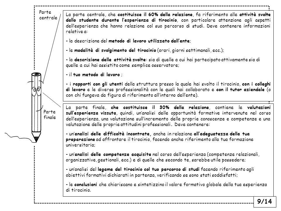 9/14 La parte centrale, che costituisce il 60% della relazione, fa riferimento alle attività svolte dallo studente durante lesperienza di tirocinio, con particolare attenzione agli aspetti dellesperienza che hanno relazione col suo percorso di studi.
