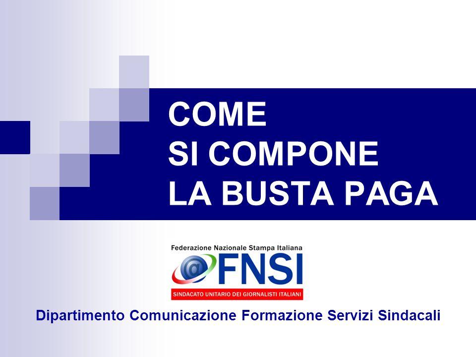 COME SI COMPONE LA BUSTA PAGA Dipartimento Comunicazione Formazione Servizi Sindacali