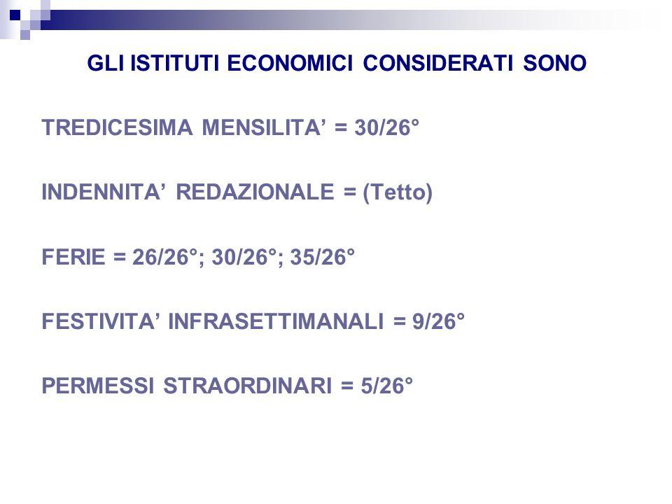 GLI ISTITUTI ECONOMICI CONSIDERATI SONO TREDICESIMA MENSILITA = 30/26° INDENNITA REDAZIONALE = (Tetto) FERIE = 26/26°; 30/26°; 35/26° FESTIVITA INFRAS