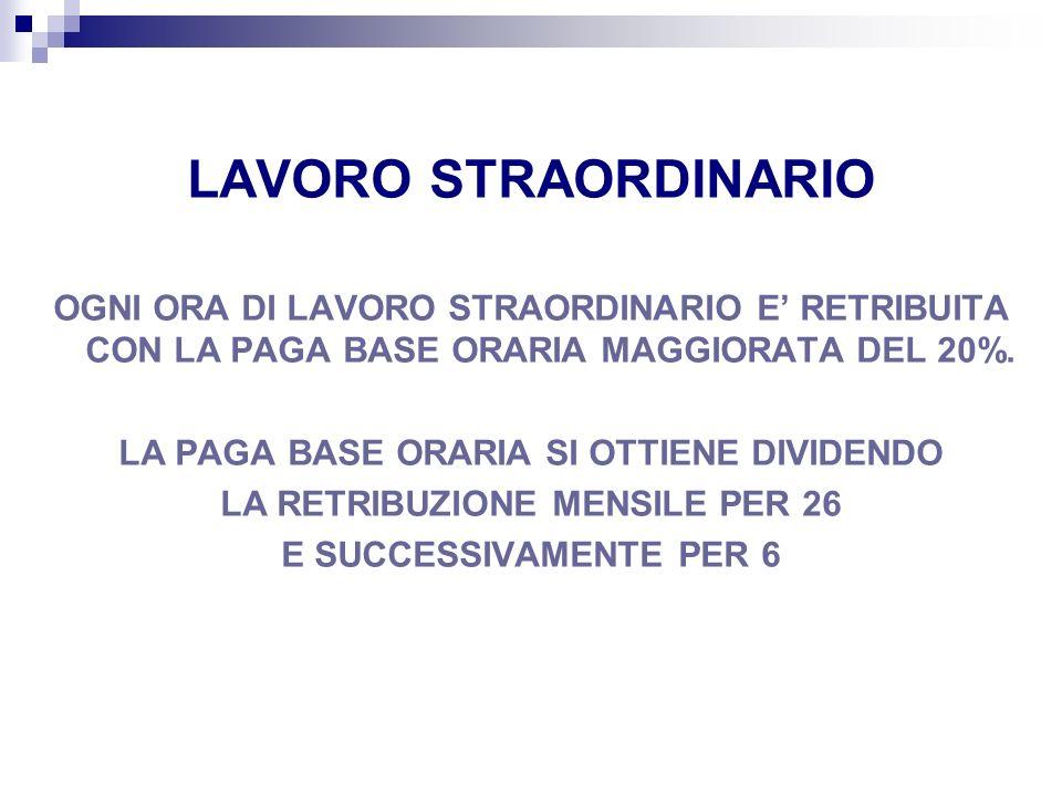 LAVORO STRAORDINARIO OGNI ORA DI LAVORO STRAORDINARIO E RETRIBUITA CON LA PAGA BASE ORARIA MAGGIORATA DEL 20%. LA PAGA BASE ORARIA SI OTTIENE DIVIDEND