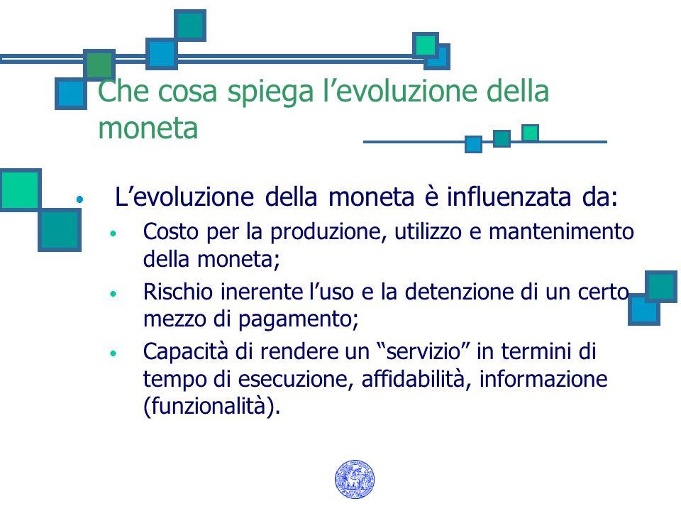 Che cosa spiega levoluzione della moneta Levoluzione della moneta è influenzata da: Costo per la produzione, utilizzo e mantenimento della moneta; Ris