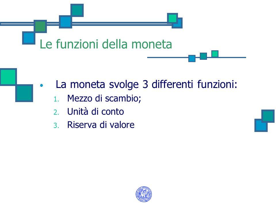Le funzioni della moneta La moneta svolge 3 differenti funzioni: 1. Mezzo di scambio; 2. Unità di conto 3. Riserva di valore