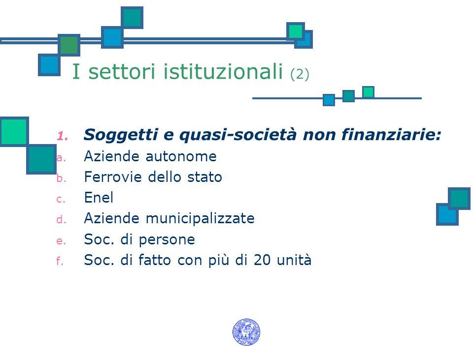 I settori istituzionali (2) 1. Soggetti e quasi-società non finanziarie: a. Aziende autonome b. Ferrovie dello stato c. Enel d. Aziende municipalizzat