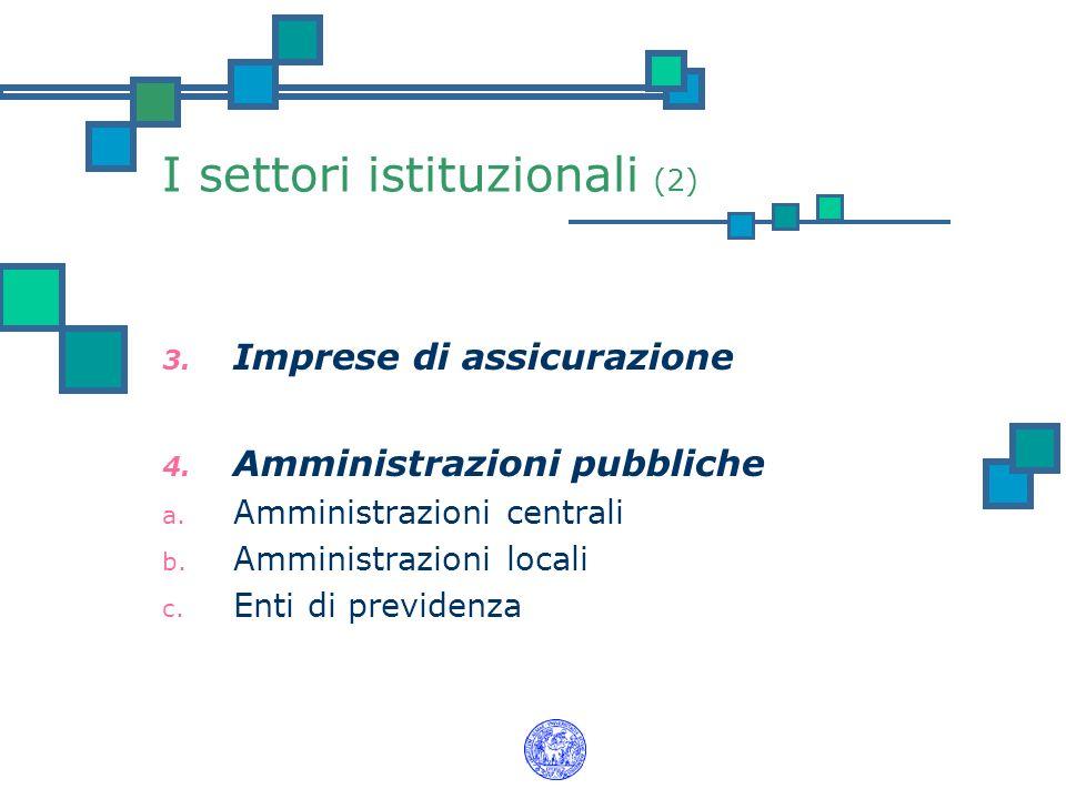 I settori istituzionali (2) 3. Imprese di assicurazione 4. Amministrazioni pubbliche a. Amministrazioni centrali b. Amministrazioni locali c. Enti di