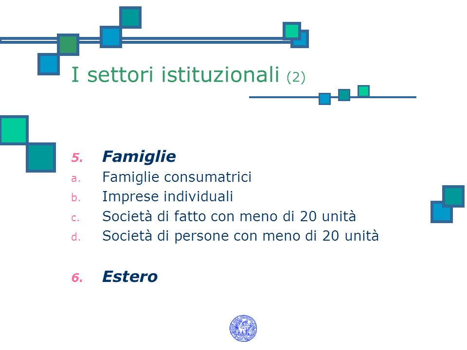 I settori istituzionali (2) 5. Famiglie a. Famiglie consumatrici b. Imprese individuali c. Società di fatto con meno di 20 unità d. Società di persone