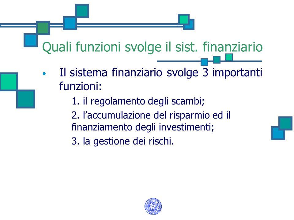 Quali funzioni svolge il sist. finanziario Il sistema finanziario svolge 3 importanti funzioni: 1. 1. il regolamento degli scambi; 2. 2. laccumulazion