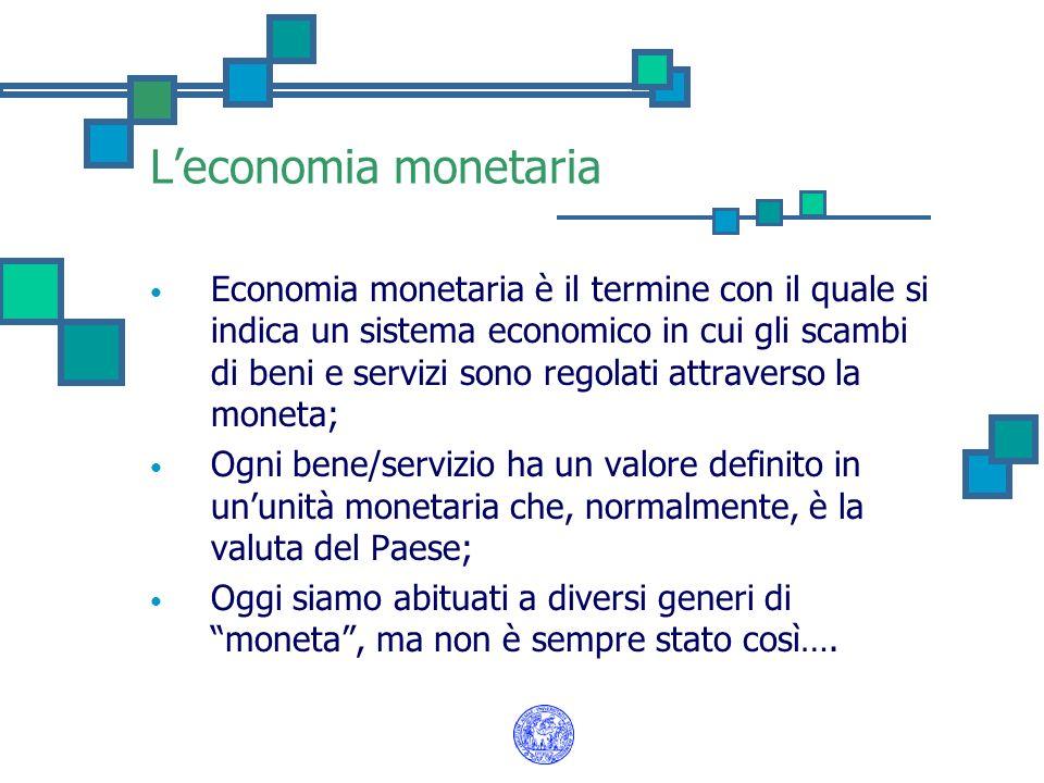 Il baratto In una economia primitiva gli scambi si basano sul baratto: merce vs merce; Questo comporta: - una doppia coincidenza nella preferenze; - che i beni siano divisibili; - alti costi di ricerca della controparte.