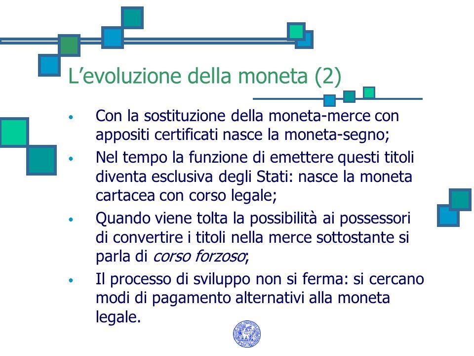 Levoluzione della moneta (3) I depositi in c/c sono un esempio di evoluzione della moneta: si pensi agli assegni; I vantaggi sono: Sicurezza; Costi; Minimizzazione dellinvestimento in attività infruttifere.
