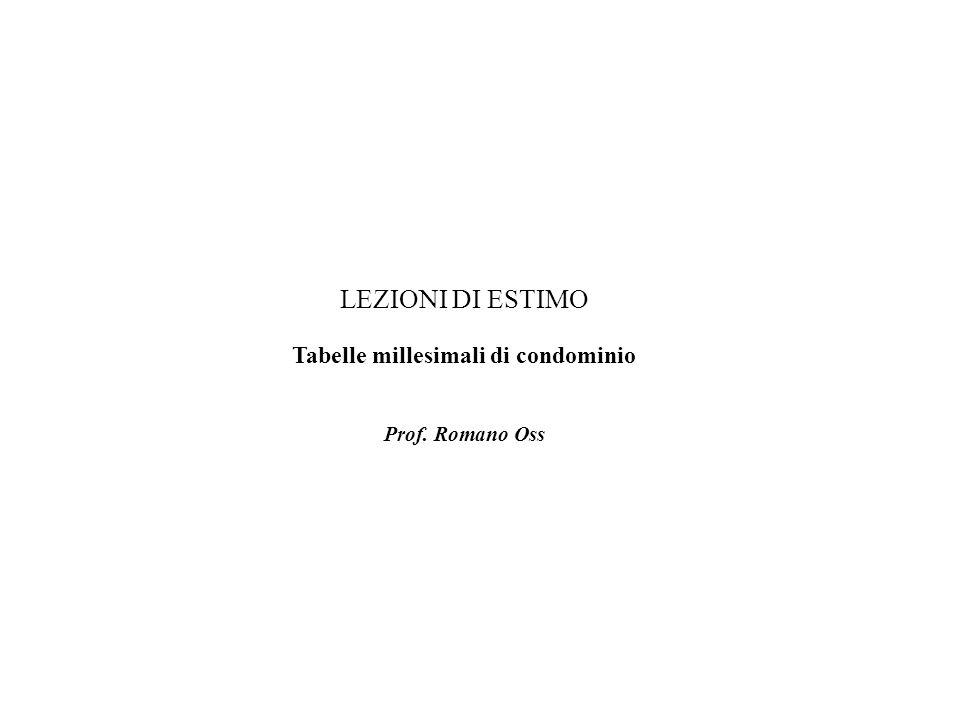 LEZIONI DI ESTIMO Tabelle millesimali di condominio Prof. Romano Oss