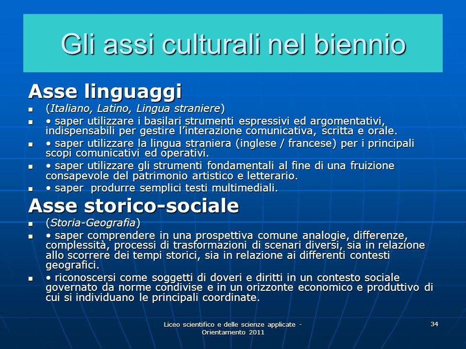 Liceo scientifico e delle scienze applicate - Orientamento 2011 34 Gli assi culturali nel biennio Asse linguaggi (Italiano, Latino, Lingua straniere)