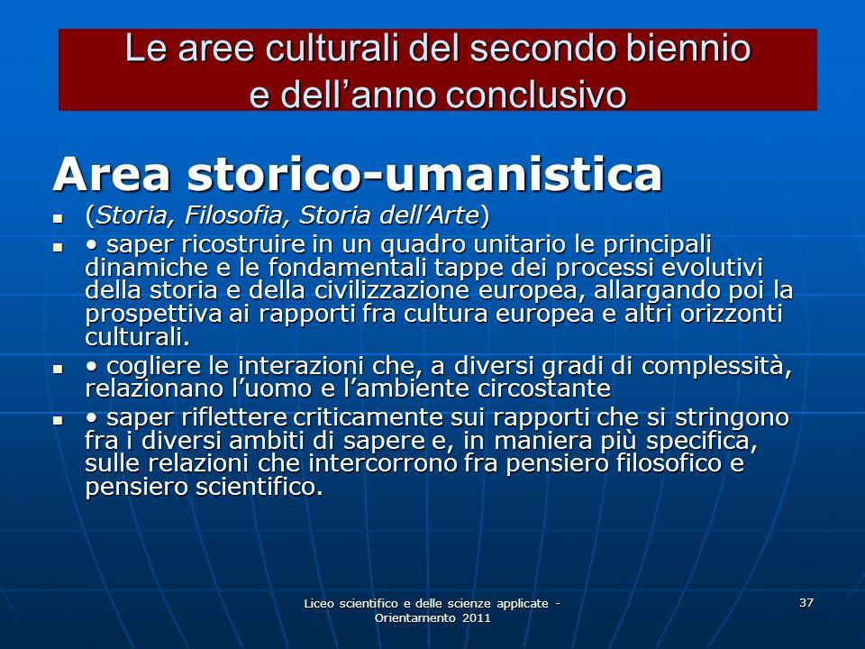 Liceo scientifico e delle scienze applicate - Orientamento 2011 37 Area storico-umanistica (Storia, Filosofia, Storia dellArte) (Storia, Filosofia, St