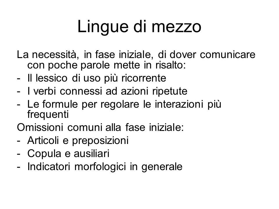 Lingue di mezzo La necessità, in fase iniziale, di dover comunicare con poche parole mette in risalto: -Il lessico di uso più ricorrente -I verbi conn