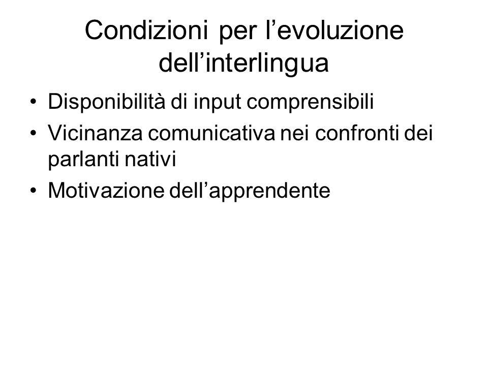 Condizioni per levoluzione dellinterlingua Disponibilità di input comprensibili Vicinanza comunicativa nei confronti dei parlanti nativi Motivazione d