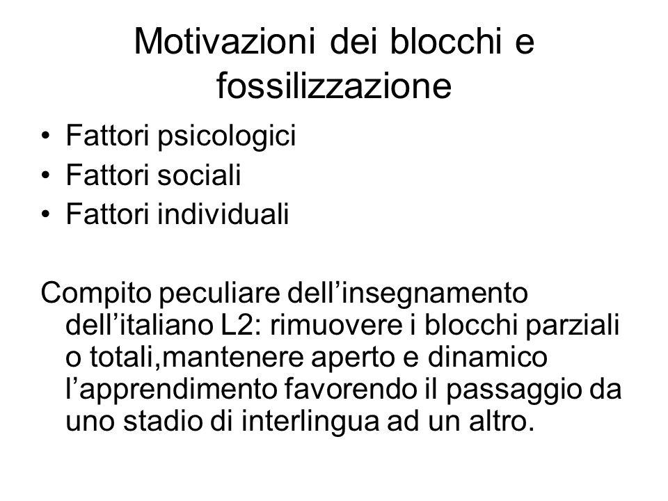 Motivazioni dei blocchi e fossilizzazione Fattori psicologici Fattori sociali Fattori individuali Compito peculiare dellinsegnamento dellitaliano L2: