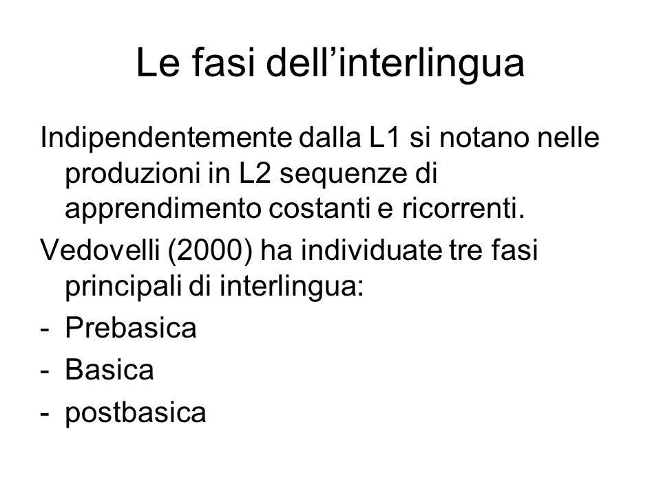 Le fasi dellinterlingua Indipendentemente dalla L1 si notano nelle produzioni in L2 sequenze di apprendimento costanti e ricorrenti. Vedovelli (2000)