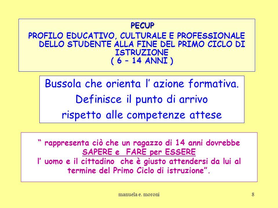 manuela e. moroni8 PECUP PECUP PROFILO EDUCATIVO, CULTURALE E PROFESSIONALE DELLO STUDENTE ALLA FINE DEL PRIMO CICLO DI ISTRUZIONE ( 6 – 14 ANNI ) Bus