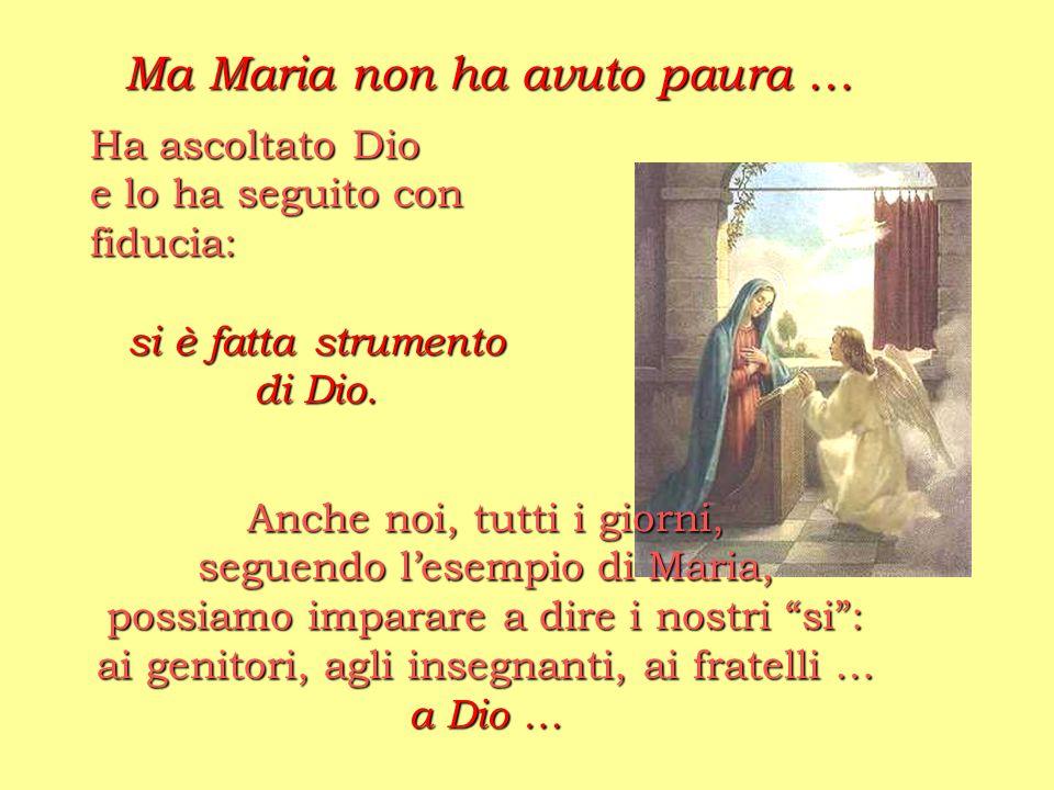 Anche noi, tutti i giorni, seguendo lesempio di Maria, possiamo imparare a dire i nostri si: ai genitori, agli insegnanti, ai fratelli … a Dio … Ma Ma