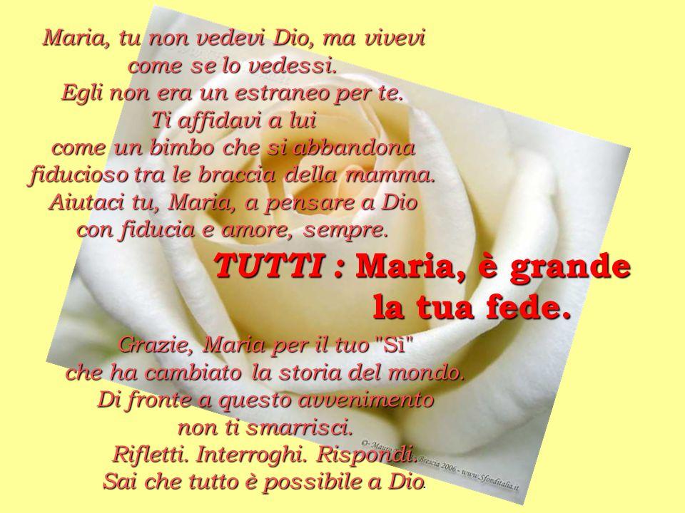 Maria, tu non vedevi Dio, ma vivevi come se lo vedessi. Egli non era un estraneo per te. Ti affidavi a lui come un bimbo che si abbandona fiducioso tr