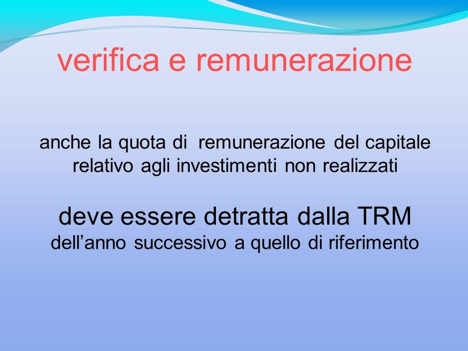 anche la quota di remunerazione del capitale relativo agli investimenti non realizzati deve essere detratta dalla TRM dellanno successivo a quello di