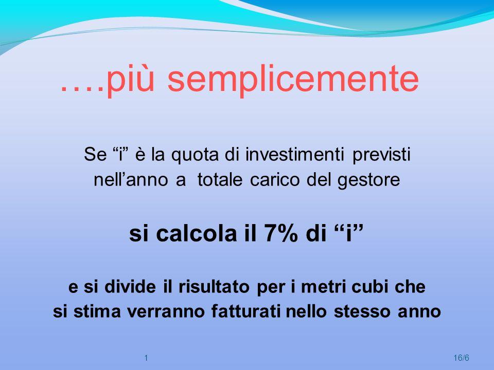 ….più semplicemente Se i è la quota di investimenti previsti nellanno a totale carico del gestore si calcola il 7% di i e si divide il risultato per i