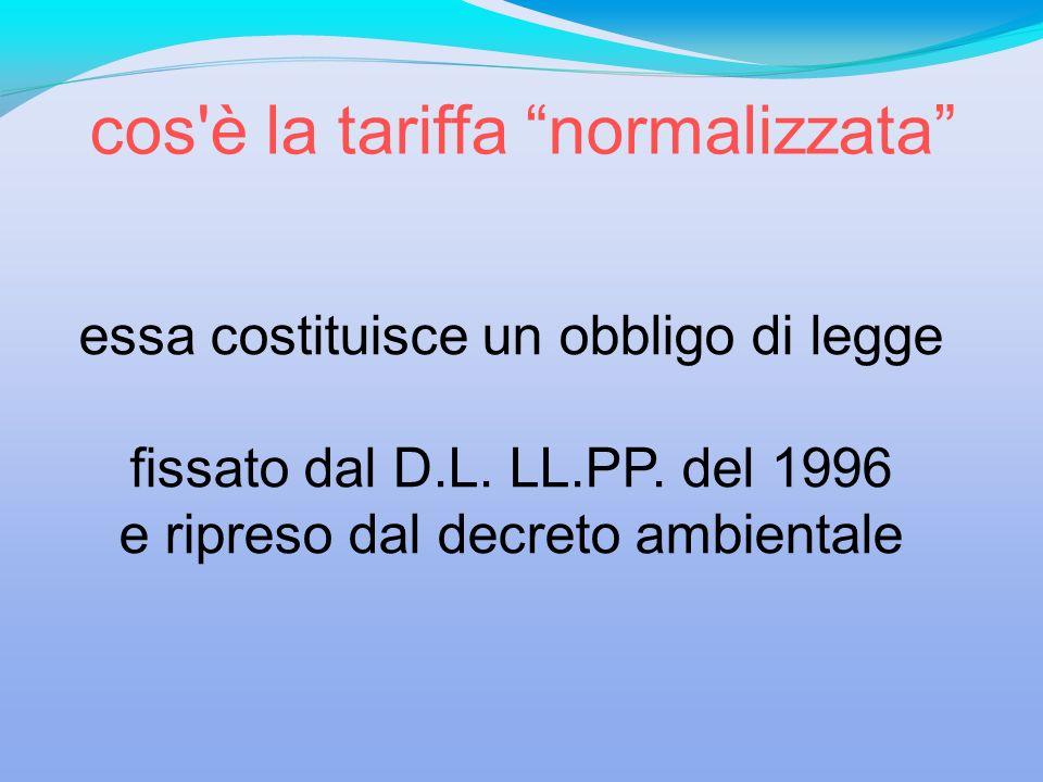essa costituisce un obbligo di legge fissato dal D.L. LL.PP. del 1996 e ripreso dal decreto ambientale cos'è la tariffa normalizzata