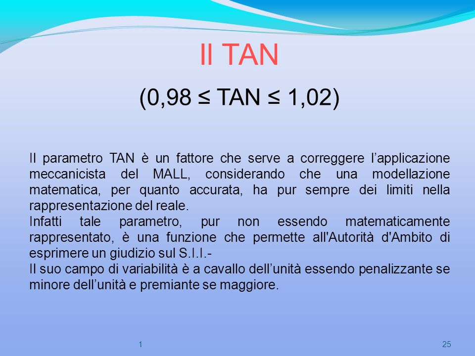 Il TAN (0,98 TAN 1,02) Il parametro TAN è un fattore che serve a correggere lapplicazione meccanicista del MALL, considerando che una modellazione mat