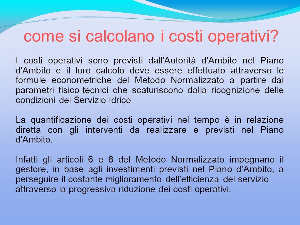 come si calcolano i costi operativi? I costi operativi sono previsti dall'Autorità d'Ambito nel Piano d'Ambito e il loro calcolo deve essere effettuat
