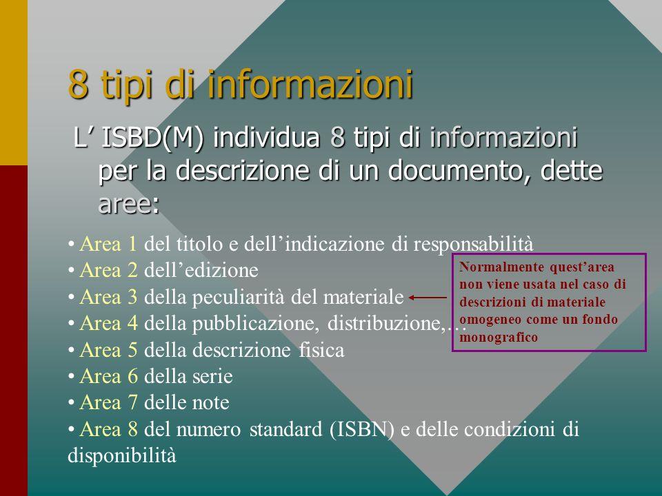 8 tipi di informazioni L ISBD(M) individua 8 tipi di informazioni per la descrizione di un documento, dette aree: Area 1 del titolo e dellindicazione