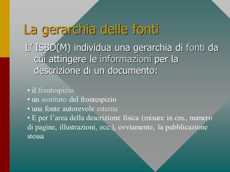 La gerarchia delle fonti L ISBD(M) individua una gerarchia di fonti da cui attingere le informazioni per la descrizione di un documento: il frontespiz