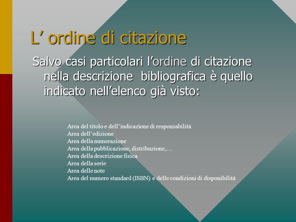 L ordine di citazione Salvo casi particolari lordine di citazione nella descrizione bibliografica è quello indicato nellelenco già visto: Area del tit