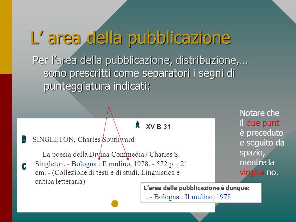L area della pubblicazione Per larea della pubblicazione, distribuzione,… sono prescritti come separatori i segni di punteggiatura indicati: XV B 31 S