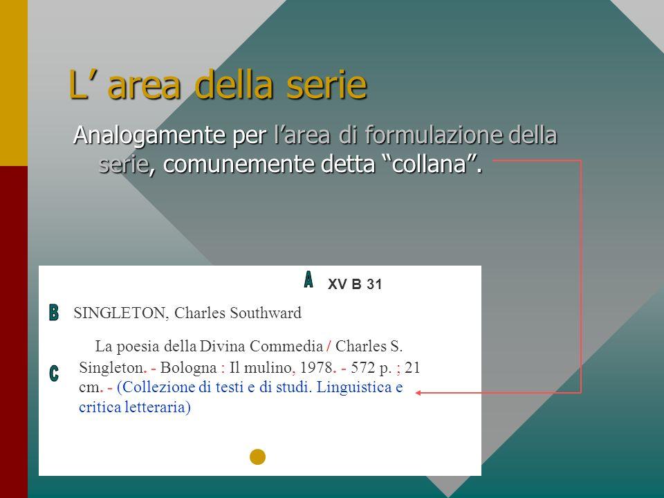 L area della serie Analogamente per larea di formulazione della serie, comunemente detta collana. XV B 31 SINGLETON, Charles Southward La poesia della
