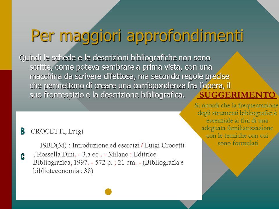 Per maggiori approfondimenti CROCETTI, Luigi ISBD(M) : Introduzione ed esercizi / Luigi Crocetti ; Rossella Dini. - 3.a ed. - Milano : Editrice Biblio