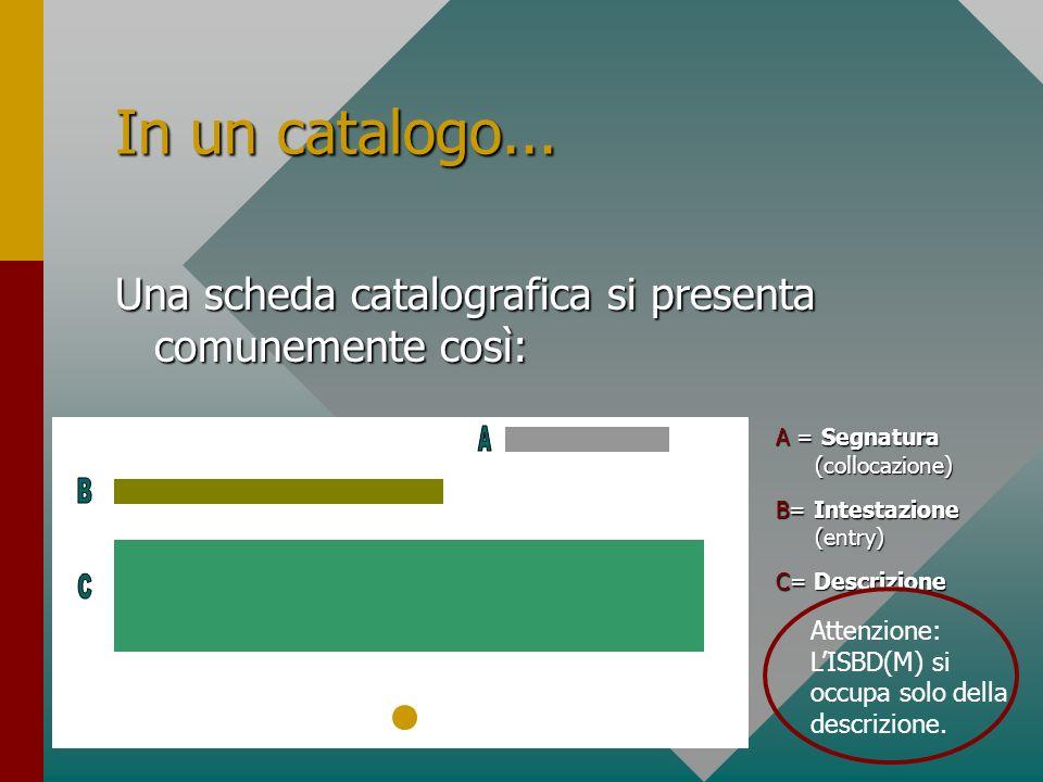 In un catalogo... Una scheda catalografica si presenta comunemente così: A = Segnatura (collocazione) B= Intestazione (entry) C= Descrizione Attenzion