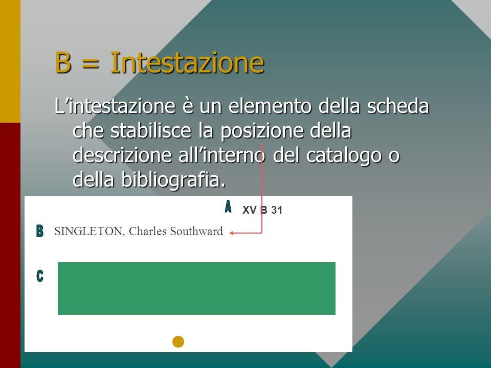 B = Intestazione Lintestazione è un elemento della scheda che stabilisce la posizione della descrizione allinterno del catalogo o della bibliografia.