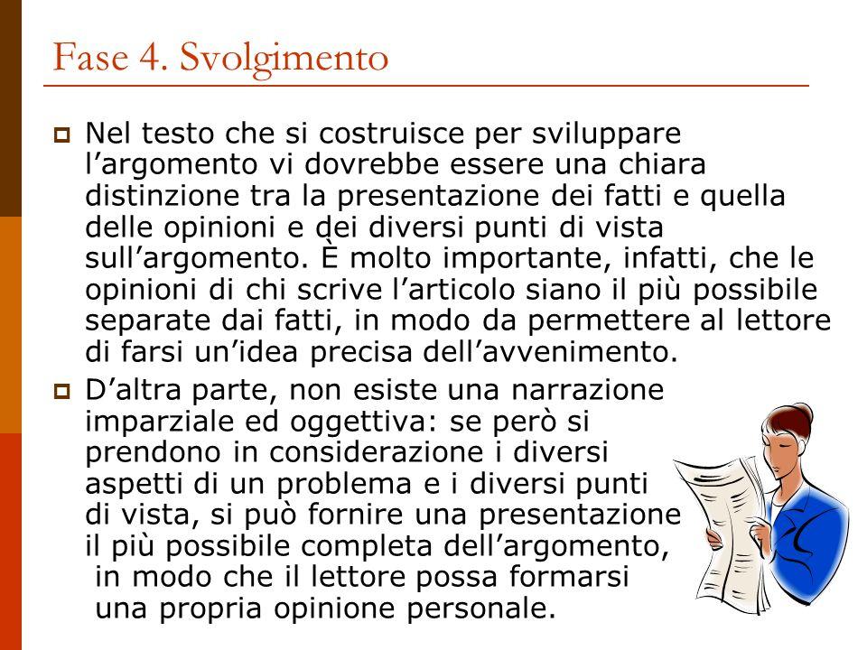 Fase 4. Svolgimento Nel testo che si costruisce per sviluppare largomento vi dovrebbe essere una chiara distinzione tra la presentazione dei fatti e q