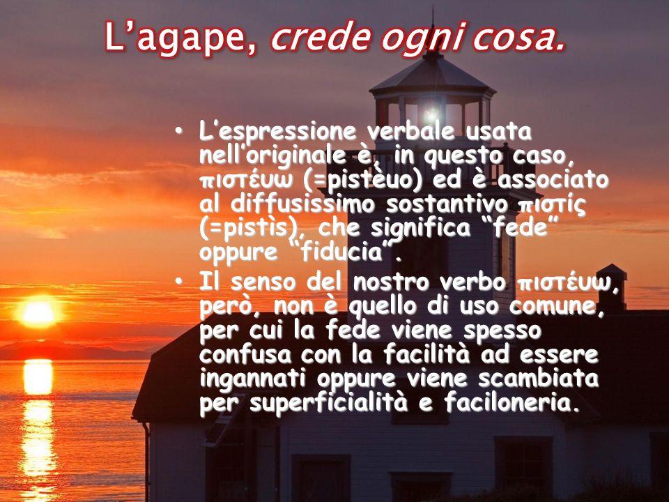 Lespressione verbale usata nelloriginale è, in questo caso, πιστέυω (=pistèuo) ed è associato al diffusissimo sostantivo πιστίς (=pistìs), che significa fede oppure fiducia.