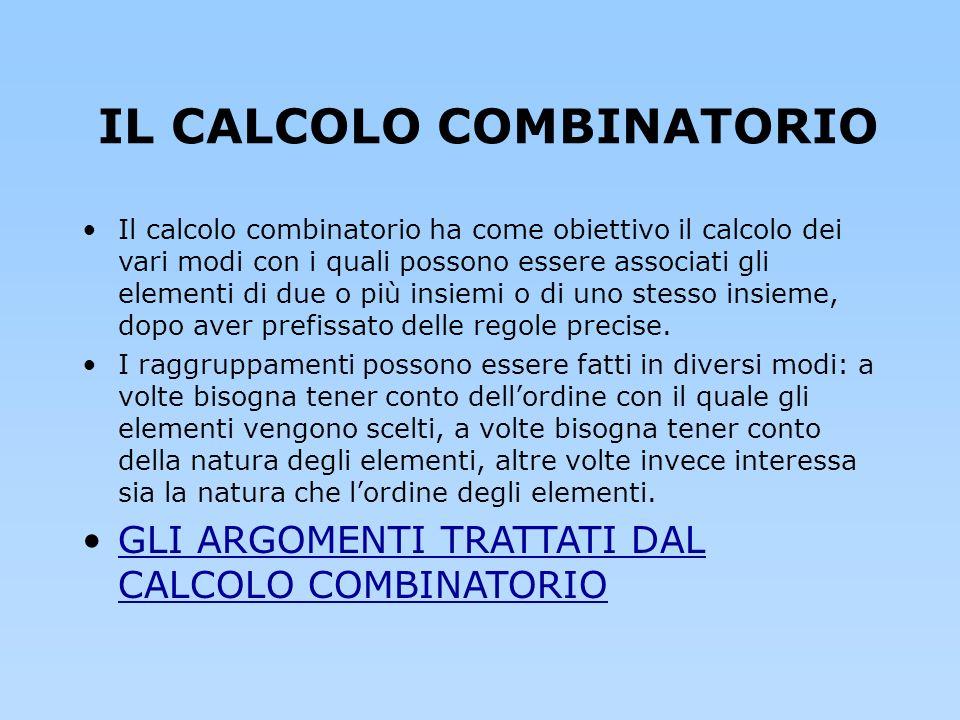IL CALCOLO COMBINATORIO Il calcolo combinatorio ha come obiettivo il calcolo dei vari modi con i quali possono essere associati gli elementi di due o