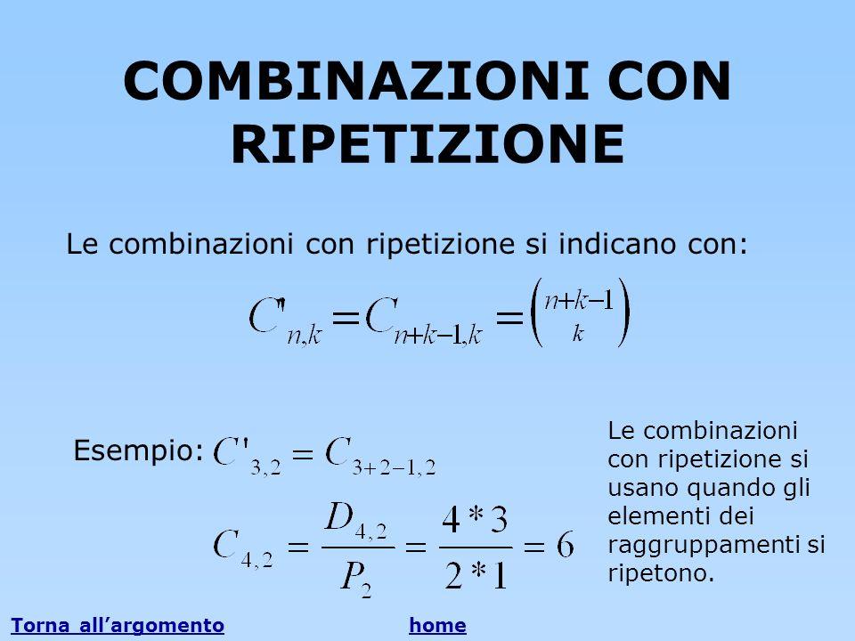 COMBINAZIONI CON RIPETIZIONE Le combinazioni con ripetizione si indicano con: k Esempio: Le combinazioni con ripetizione si usano quando gli elementi
