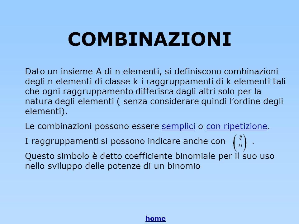 COMBINAZIONI Dato un insieme A di n elementi, si definiscono combinazioni degli n elementi di classe k i raggruppamenti di k elementi tali che ogni ra