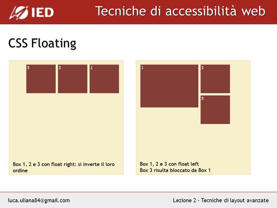 luca.uliana84@gmail.com Tecniche di accessibilità web Lezione 2 - Tecniche di layout avanzate CSS Floating