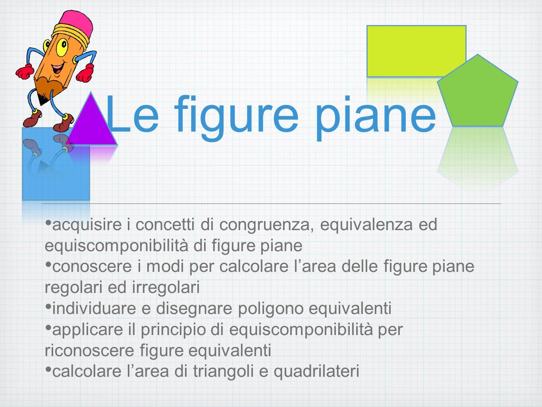 Le figure piane acquisire i concetti di congruenza, equivalenza ed equiscomponibilità di figure piane conoscere i modi per calcolare larea delle figur