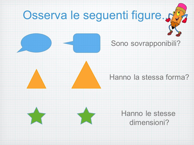 Figure congruenti Le due stelline hanno la stessa forma, le stesse dimensioni e sovrapponibili.