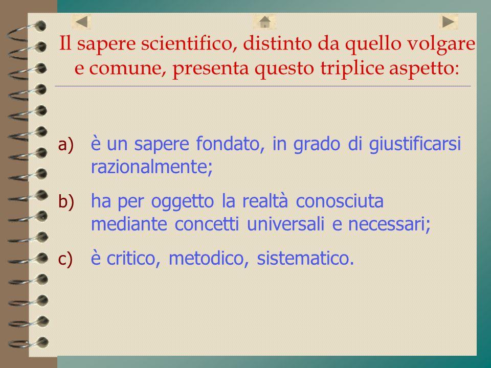 Il sapere scientifico, distinto da quello volgare e comune, presenta questo triplice aspetto: a) è un sapere fondato, in grado di giustificarsi razion