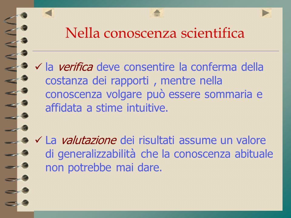 Nella conoscenza scientifica la verifica deve consentire la conferma della costanza dei rapporti, mentre nella conoscenza volgare può essere sommaria