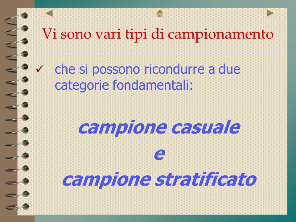 Vi sono vari tipi di campionamento che si possono ricondurre a due categorie fondamentali: campione casuale e campione stratificato