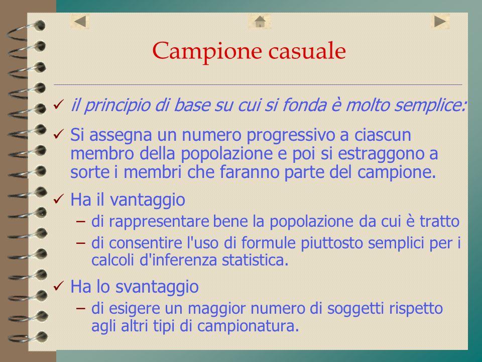 Campione casuale il principio di base su cui si fonda è molto semplice: Si assegna un numero progressivo a ciascun membro della popolazione e poi si e