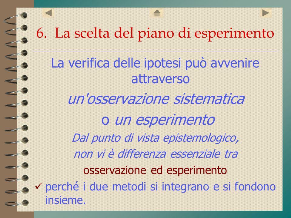 6. La scelta del piano di esperimento La verifica delle ipotesi può avvenire attraverso un'osservazione sistematica o un esperimento Dal punto di vist