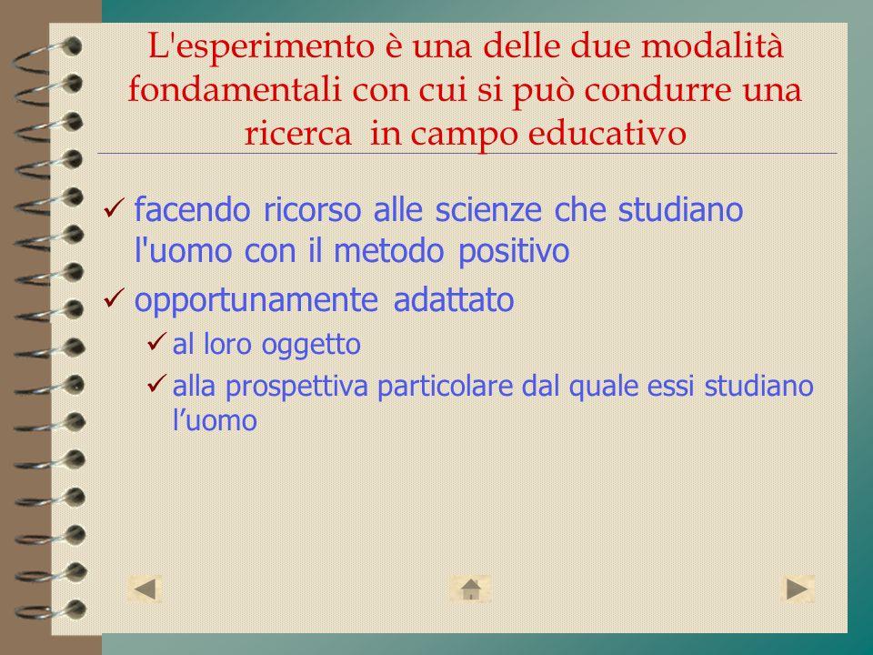 L'esperimento è una delle due modalità fondamentali con cui si può condurre una ricerca in campo educativo facendo ricorso alle scienze che studiano l