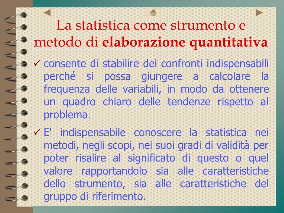 La statistica come strumento e metodo di elaborazione quantitativa consente di stabilire dei confronti indispensabili perché si possa giungere a calco